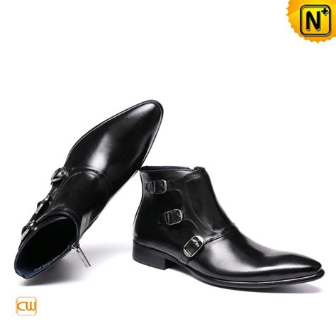 black boots mens shoes mens fashion leather monk dress shoes black cw761350