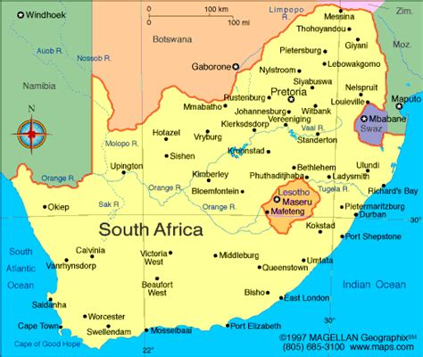 south africa map with cities south africa