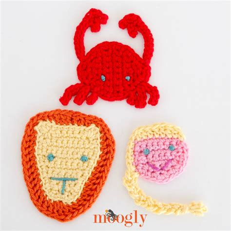 free patterns applique crochet zodiac crochet appliques set 3 cancer leo and virgo