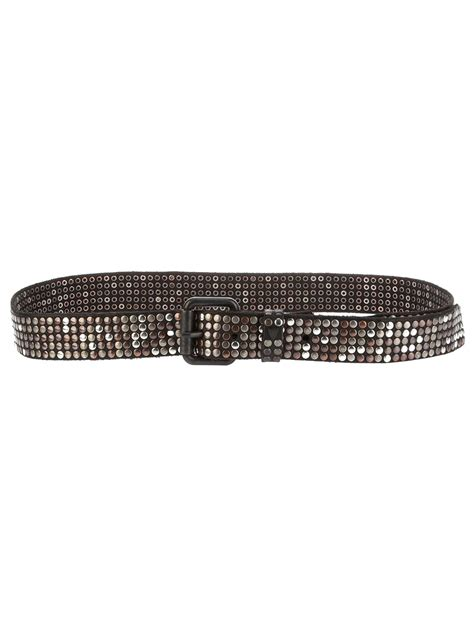 trading co studded belt in brown for lyst
