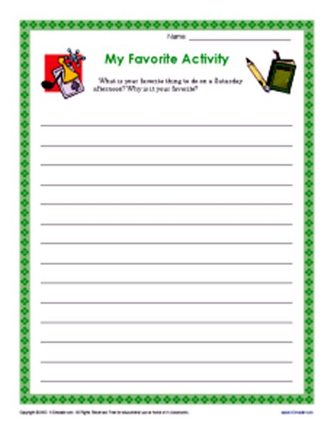my favorite activity | descriptive writing prompt for 3rd