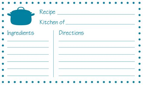 Printable Recipe Cards 3x5 | custom card template 187 word recipe card template 4x6