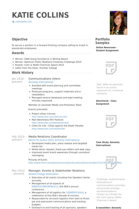 cv internship template communications intern resume sles visualcv resume
