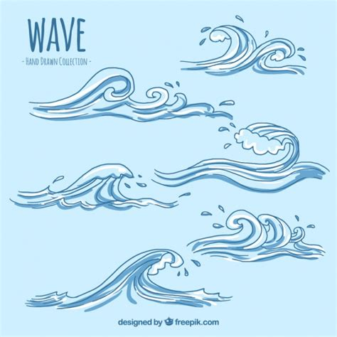 drawing a vector wave several decorative waves vector free