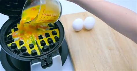 other usues for a waffle maker when she pours eggs in the waffle iron something awesome happens