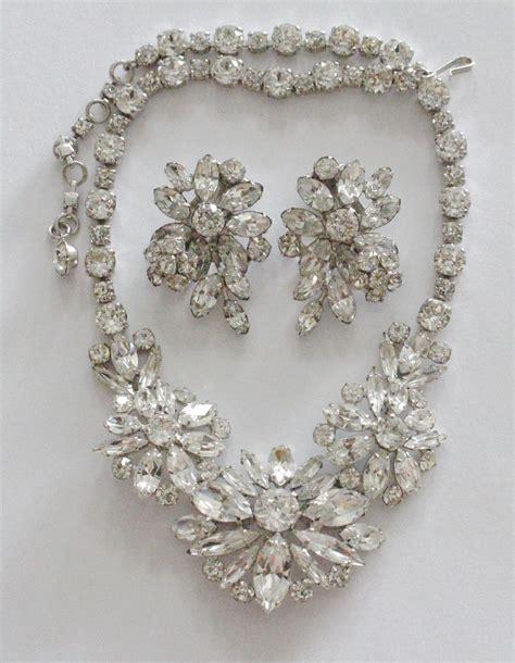 Floral Rhinestone Earrings sherman swarovski rhinestone floral necklace