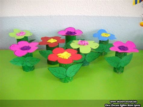 Toilet Paper Roll Flowers Craft - crafts actvities and worksheets for preschool toddler and