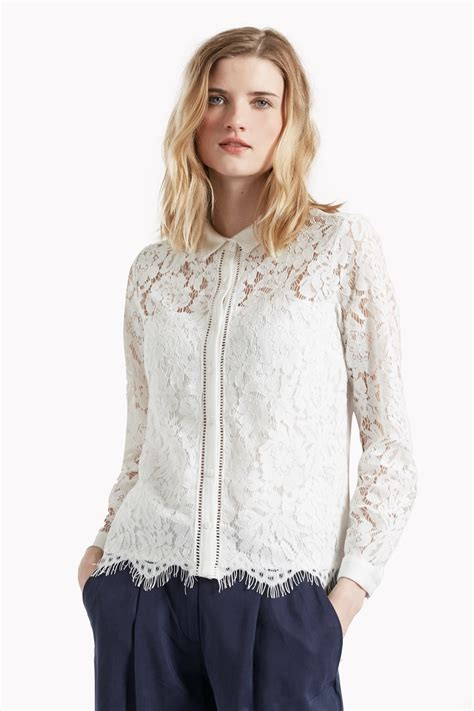 Mix Lace Shirt Black lorenzo lace mix shirt tops great plains