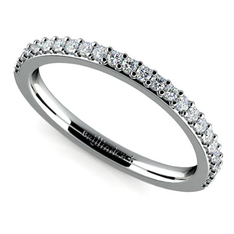 curved wedding ring in white gold