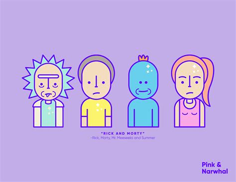 icon design quotes pink narwhal rick and morty icon design series 3