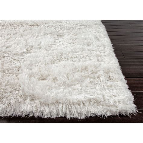 White Rug Classic Shag Ultra White 4 Ft X 4 Ft Round Area White Rugs