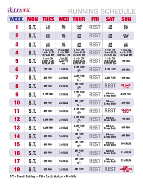 printable running schedule running program for absolute beginners marathons