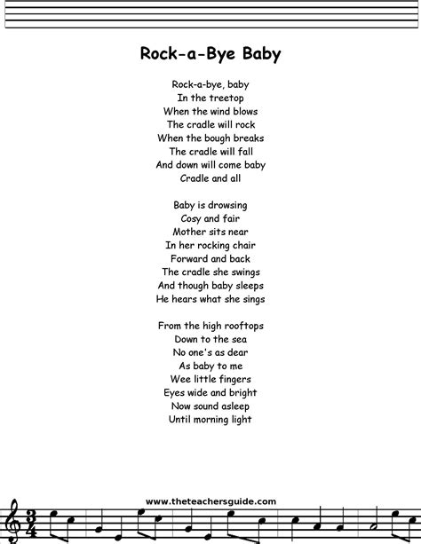 testo rock rock a bye lyrics printout midi and