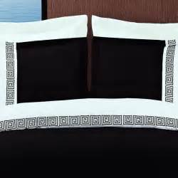 Gold Duvet Cover Queen Modern Greek Key Black And White Embroidered Duvet