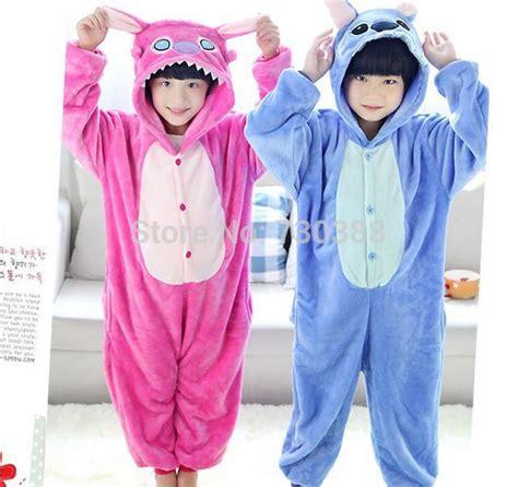 Jam Flanel Stitch Pink anime blue pink stitch onesie children flannel unisex pajamas