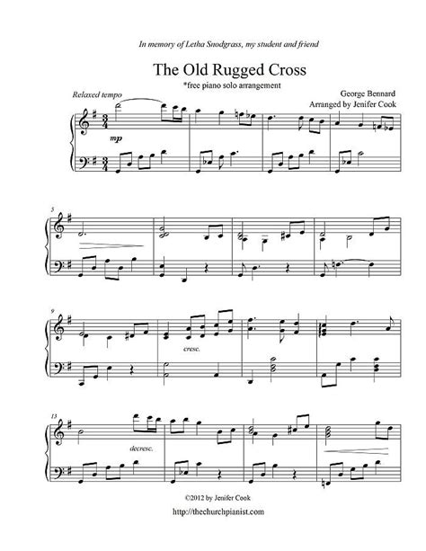 The Rugged Cross Violin Sheet by Free Sheet Bernard George The Rugged Cross