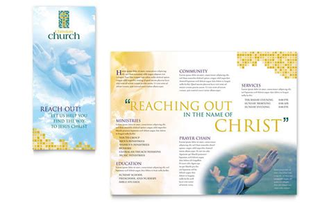 free church brochure templates christian church brochure template design