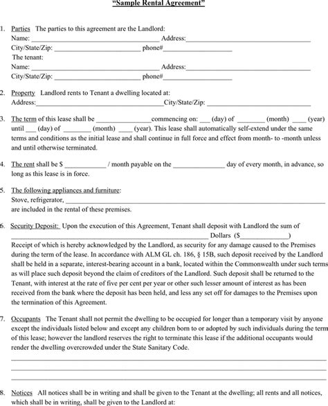 Lease Agreement Forms Documents And Pdfs Tenant Rental Agreement Template