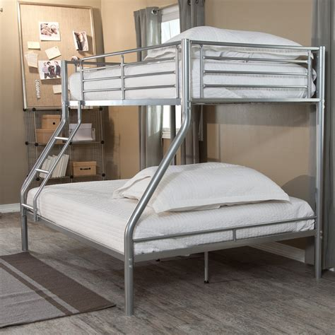 futon cama 2 plazas modern size bunk bed in silver metal finish