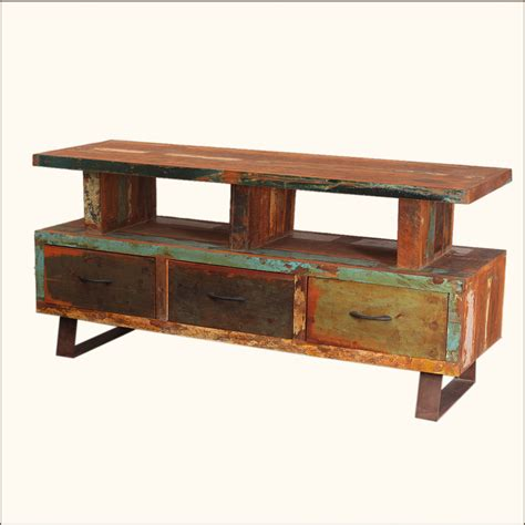 Rustic Tv Console Table Distressed Media Console Rustic Reclaimed Wood Iron Tv Led Entertainment Stand Ebay