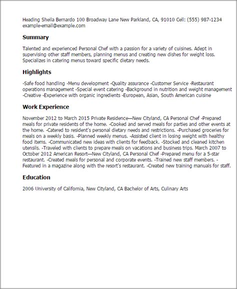 personal chef resume sle professional personal chef templates to showcase your