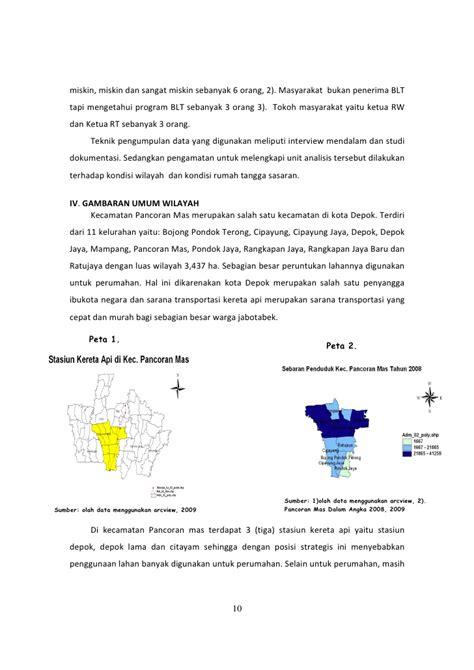 Kecamatan Pancoran Depok sebaran masyarakat miskin dan program bantuan langsung