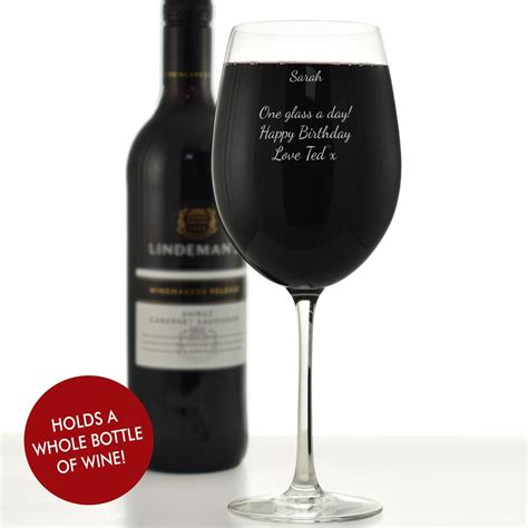 wine glass personalised giant wine glass holds a full bottle of wine