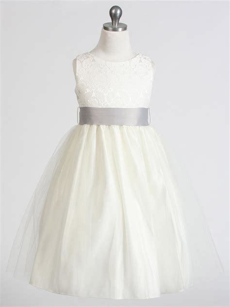design your flower girl dress ivory jacquard bodice w tulle skirt removable sash