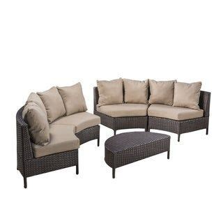 newton outdoor  seater curved wicker sectional sofa set