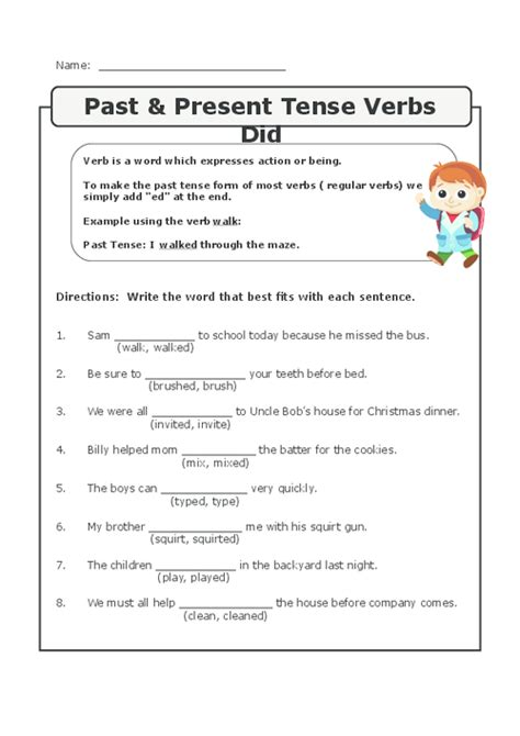 present tense to past tense worksheet past present future tense verbs 4th grade complete the sentence by changing verbs to future