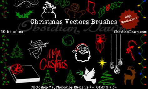 free christmas vectors photoshop brushes