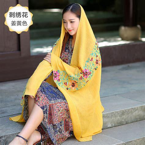 scraft syal leher bandung syal katun motif bunga scarf embroidery yellow