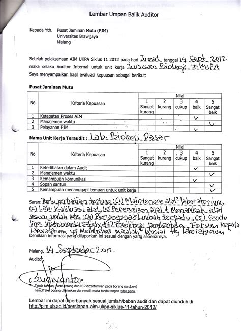 format laporan audit operasional department of biology 187 result of internal external audit