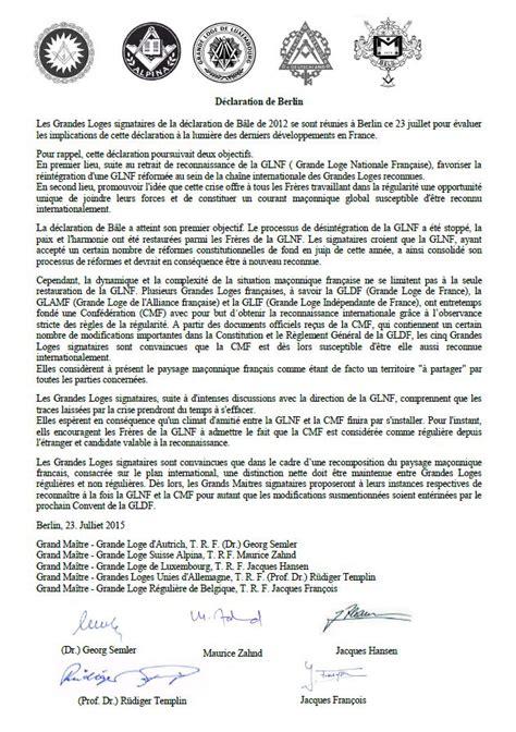Exemple Lettre Demission Franc Maconnerie Cmf Glnf D 233 Claration De Berlin Des 5 Grandes Loges