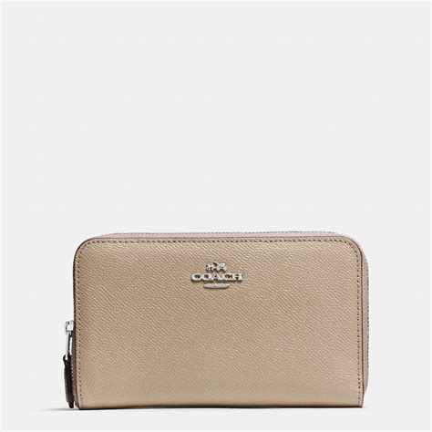 Coach Medium Wallet Ori coach medium zip around wallet in crossgrain leather lyst