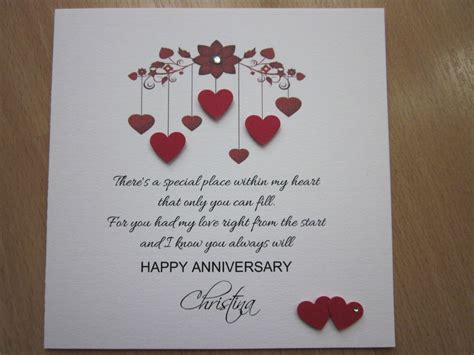 ideas for wedding anniversary cards personalised handmade anniversary engagement wedding day