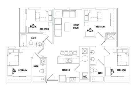 shared bathroom floor plans 4 bed 3 bath k shared bath waitlist the varsity