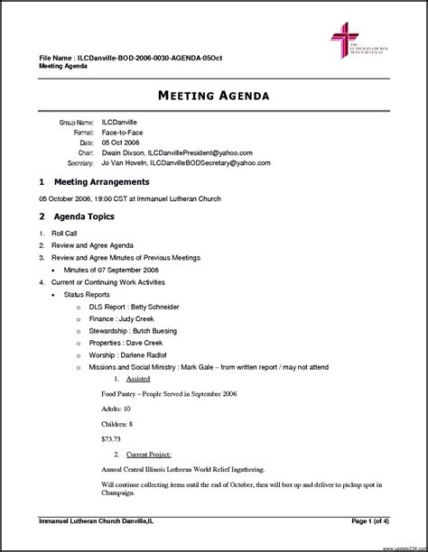 meeting agenda exles templates free business meeting agenda template template update234