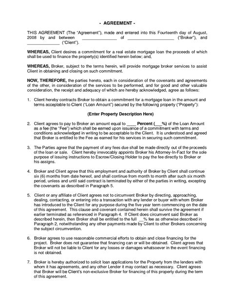 fee agreement template commercial mortgage broker fee agreement doc by udgllc