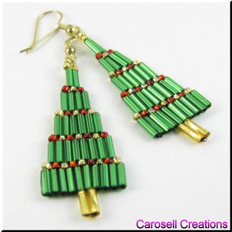 christmas bugle tree dangle beadwork seed bead earrings