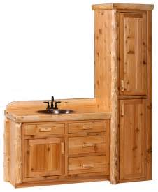bathroom vanities and linen cabinets cedar log vanity and linen cabinet the log furniture store