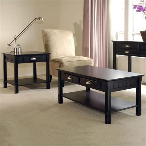 Black Coffee Table Sets 2 Coffee And End Table Set In Black Beechwood 20238 20124