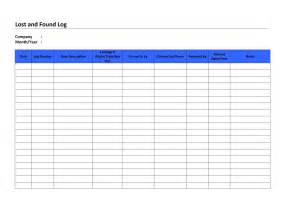 lost template lost and found log template free microsoft word templates