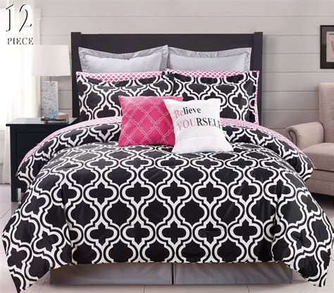 Black And Pink Bed Sets 12 Pc Modern Bedding Black White Pink Chic King Comforter Set Bed In A Bag What S It Worth