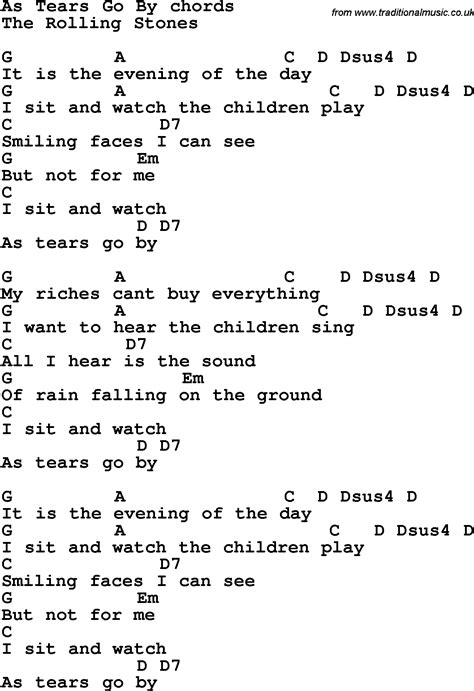 stones lyrics song lyrics with guitar chords for as tears go by the
