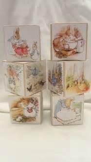 Beatrix Potter Nursery Decor Beatrix Potter Rabbit Book Puzzle Wood Blocks Nursery Room Deco