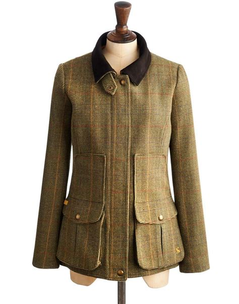country style coats joules womens semi fitted tweed field coat green mr toad