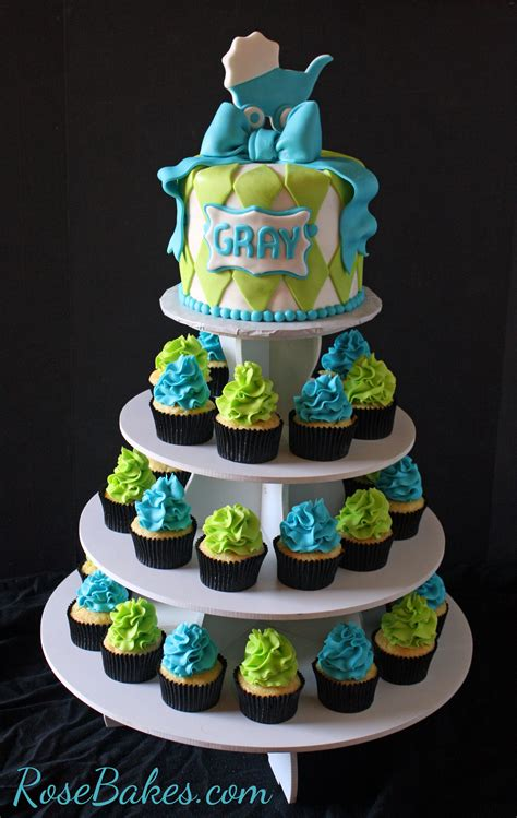 Cakes For Baby Showers Pics by Turquoise Lime Green Baby Shower Cake And Cupcake Tower