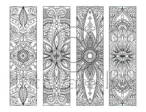 4 Mandala Colouring Bookmarks Set 5 Instant Download