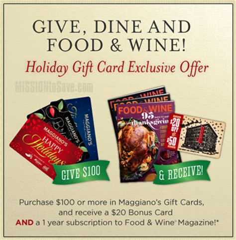Maggianos Gift Cards - maggiano s bonus gift card offer food and wine mag or refund mission to save